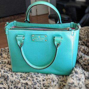 Kate Spade Wellesley Quinn, green leather handbag